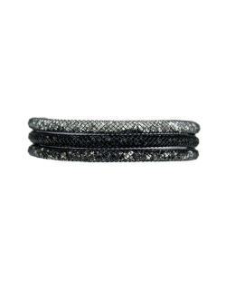 Pulseira de metal preta com cristais brilhantes Shay