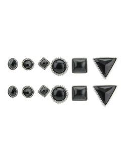 Kit 6 pares de brinco prateado com pedra preta Zauza