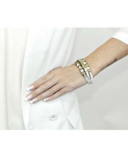 Pulseira branca e dourada com pedra branca leitosa Sabedoria