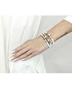 Pulseira branca e dourada com pedra branca leitosa Ostie