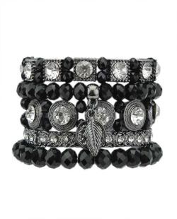 Kit 5 pulseiras de metal grafite com preto e cristal Mercie