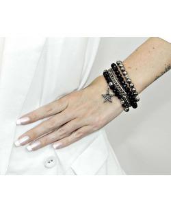 Kit 4 pulseiras de metal prateado com preto e grafite Esmeri