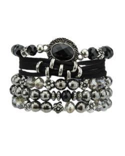Kit 5 pulseiras  prateada com preto e grafite Urande
