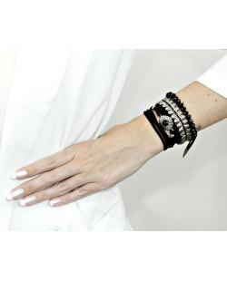 Kit 3 pulseiras de metal prateada com preto Javen