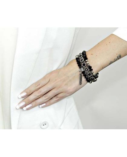 Kit 3 pulseiras de metal prateada com preto e grafite Cande