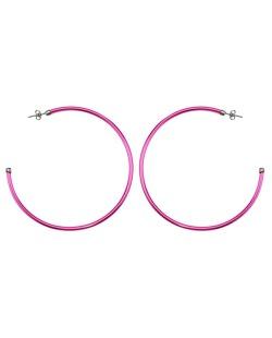 Brinco de argola grafite e rosa pink Morare
