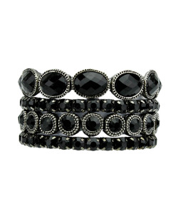 Kit 4 pulseiras de metal prateado e preto Edimbu