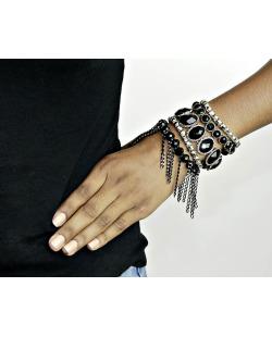Kit 5 pulseiras de metal prateado e preto Aberden