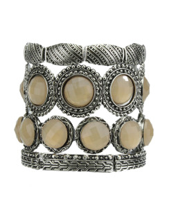 Kit 4 pulseiras de metal prateado com pedra salmão Paisley