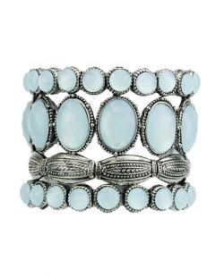 Kit 4 pulseiras de metal prateado com pedra azul Clenco