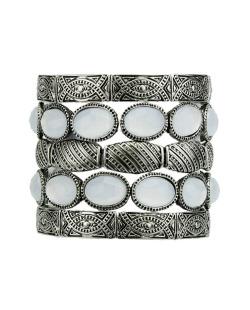 Kit 5 pulseiras de metal prateado com pedra branca Aidre
