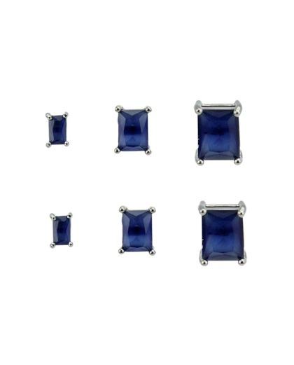 Kit 3 pares de brinco grafite com pedra azul Argel