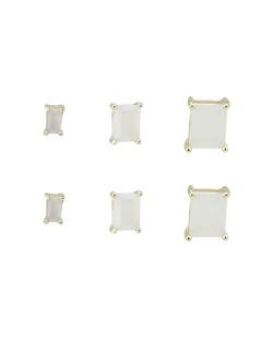 Kit 3 pares de brinco dourado com pedra branca Argel