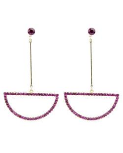 Maxi brinco de metal dourado com strass rosa Sacaba