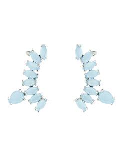 Ear cuff de metal prateado com pedra azul Brunei