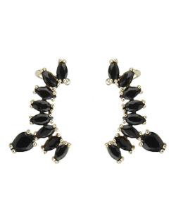 Ear cuff de metal dourado com pedra preta Brunei