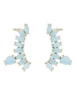 Ear cuff de metal dourado com pedra azul Brunei