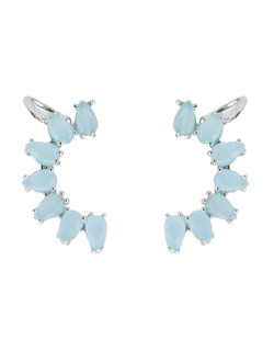 Ear cuff de metal prateado com pedra azul Bangar