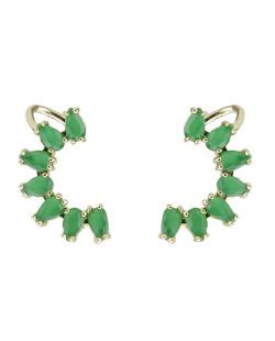Ear cuff de metal dourado com pedra verde Bangar