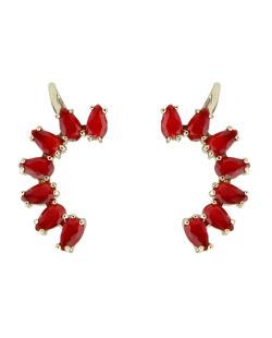 Ear cuff de metal dourado com pedra vermelha Bangar