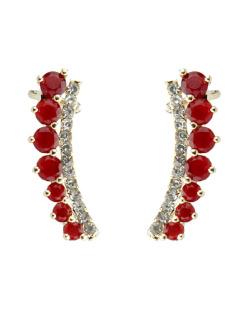 Ear cuff de metal dourado com pedra vermelha Panaga