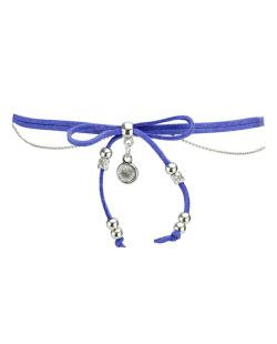 Gargantilha choker azul e prateada com pedra cristal Zapdos
