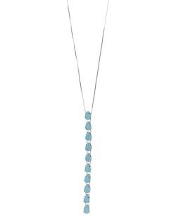 Colar de metal prateado com pedra azul Andenne