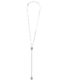 Colar folheado de metal prateado com strass cristal e pedra azul Arlon