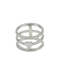 Anel de metal prateado com pedra rosa claro e strass cristal Rakops