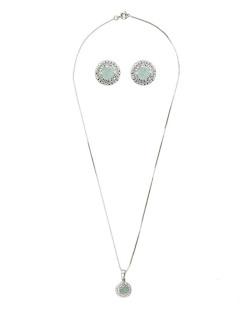 Kit brinco mais colar de metal prateado com pedra verde claro Maroua