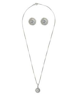 Kit brinco mais colar de metal prateado com pedra cristal Maroua