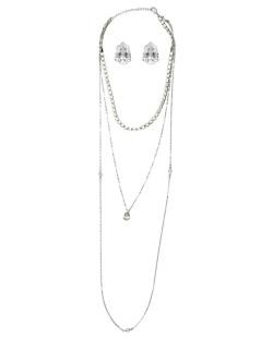 Kit brinco mais colar de metal prateado com pedra cristal Kouseri