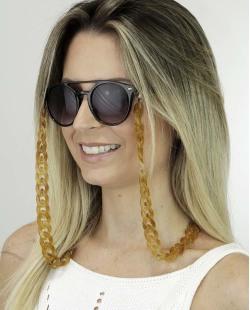 Corrente de óculos de acrílico marrom Pinom