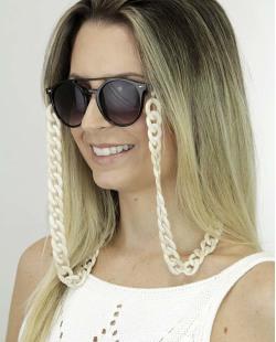 Corrente de óculos de acrílico bege Pinom