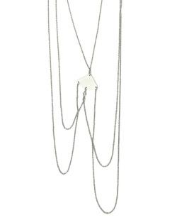 Colar body chain de metal prateado Siene