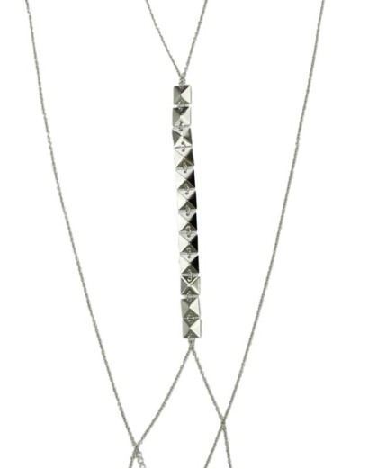 Colar body chain de metal prateado Ankor