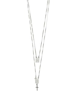 Kit de dois colares de metal prateado Dohano