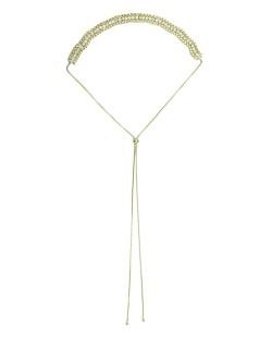 Colar de metal dourado com strass cristal Mesaie