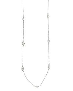 Colar de metal prateado com pedra cristal Lusale