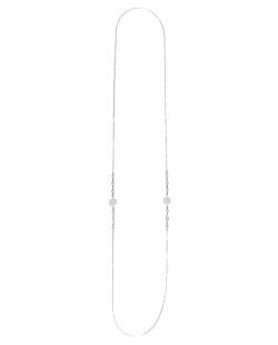 Colar de metal prateado com pedra cristal Taffan