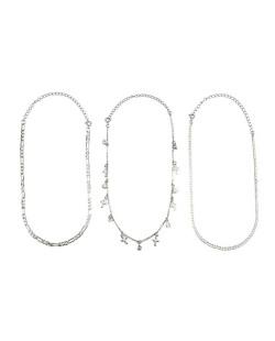 Kit de três gargantilhas choker de metal prateado com pedra cristal Simais