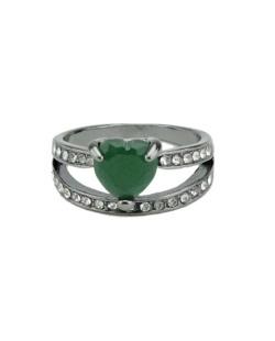 Anel de metal grafite com pedra verde e strass cristal Páfos