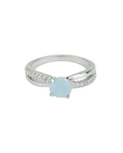 Anel de metal prateado com strass cristal e pedra azul claro Wonsan