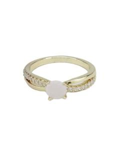 Anel de metal dourado com strass cristal e pedra rosa claro Wonsan
