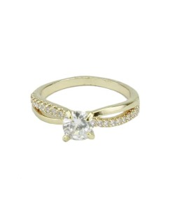 Anel de metal dourado com strass cristal e pedra cristal Wonsan