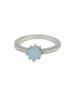 Anel de metal prateado com strass cristal e pedra azul claro Kasone