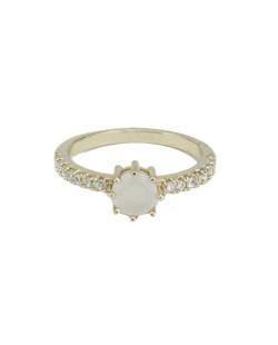 Anel de metal dourado com strass cristal e pedra bege Kasone