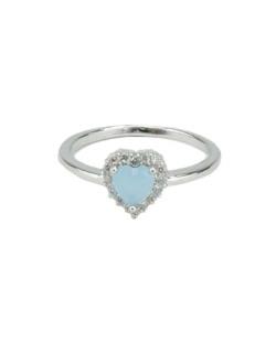 Anel de metal prateado com strass cristal e pedra azul claro Namper