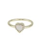 Anel de metal dourado com strass cristal e pedra rosa claro Namper