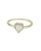 Anel de metal dourado com strass cristal e pedra bege Namper